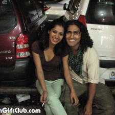 delhi college girl smoking near car with boyfriend
