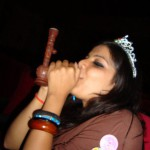 desi babe dressed as queen enjoys smoking