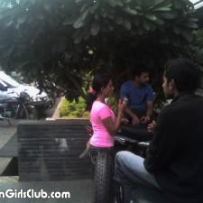 desi girl smoking in public with guys