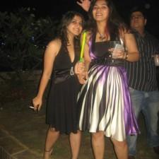girls dressed in party wear smoking