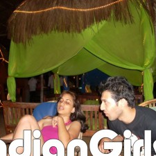 indian bikini babe smoking with boyfriend