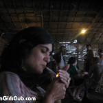 punjabi aunty lighting cigarette in dhaba