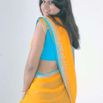 girls saree back