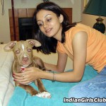 teen indian girl dog pet
