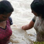 Indian Girls Wet in River