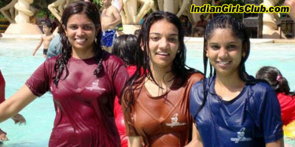 wet tshirt indian girls theme park