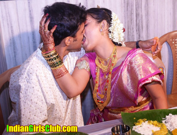 indian bride kissing before first night