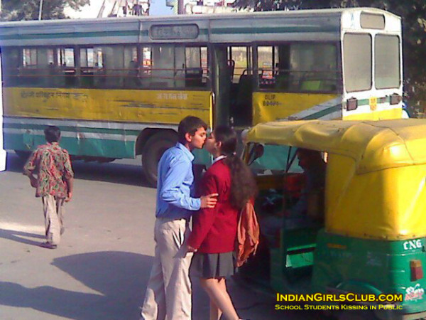 kissing indian school students