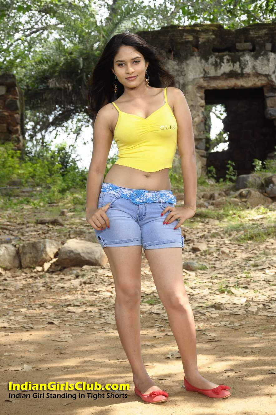indian girl standing in tight shorts - indian girls club
