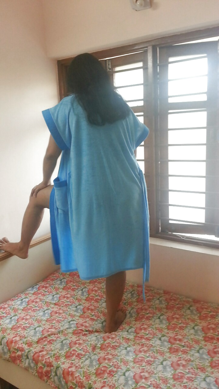 Sexy Indian Aunty Angel In Blue Nighty