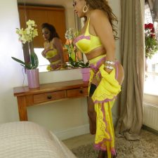Indian MILF Solo Pleasure Yellow Lingerie Nude