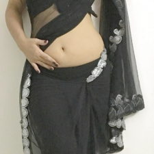 Indian Aunty Black Sari Striptease Show